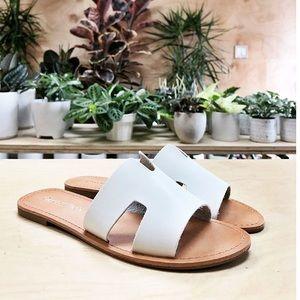 White vegan leather sandals